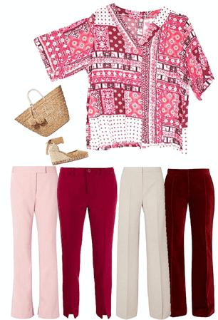 Remera escote V tonos rosados