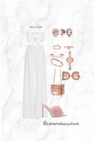 white on white with rose Gold