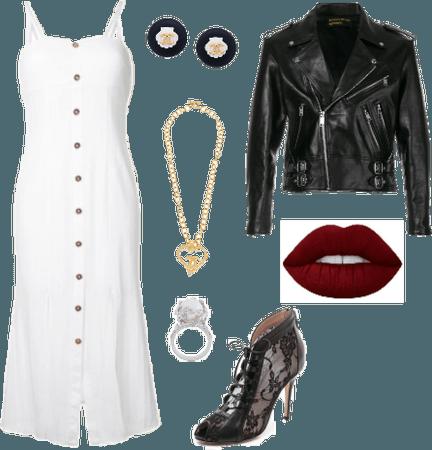 White dress red lips