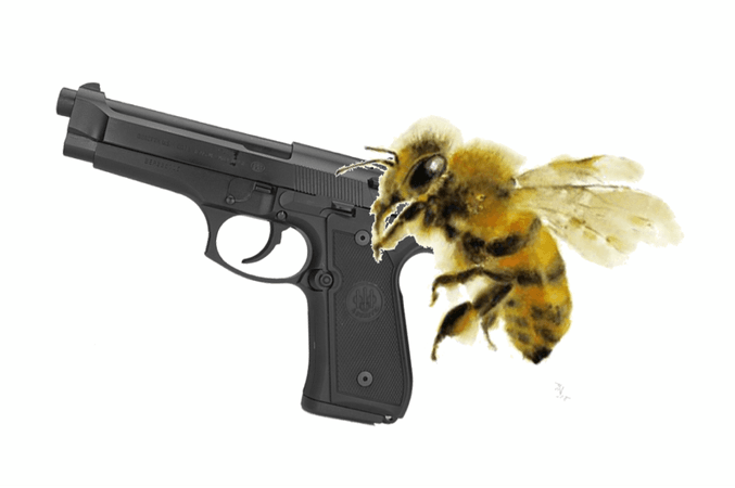 bee with gun