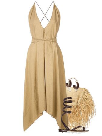 summer essentials: a dress, flat sandals and straw bag