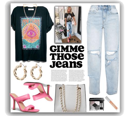 jeans + pink Floyd tee