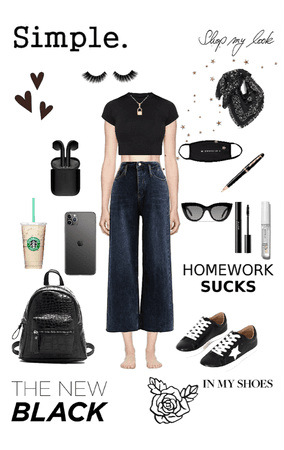 aesthetic school outfit!🖤🤍
