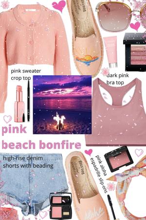 pink beach bonfire