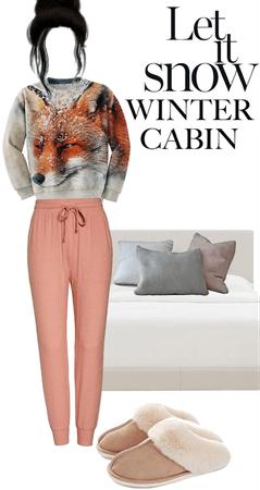 lady sleep winter cabin  vogue