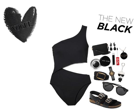all black women's bathing suit
