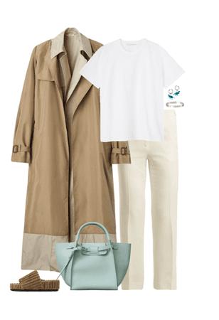 how a Celine woman wear a white tshirt