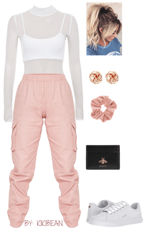pink cargo with white bodysuit