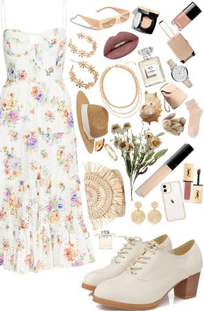 Beige Floral Summer