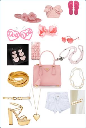 Pink bag. Pink white gold