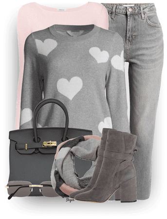 grey with pink pops