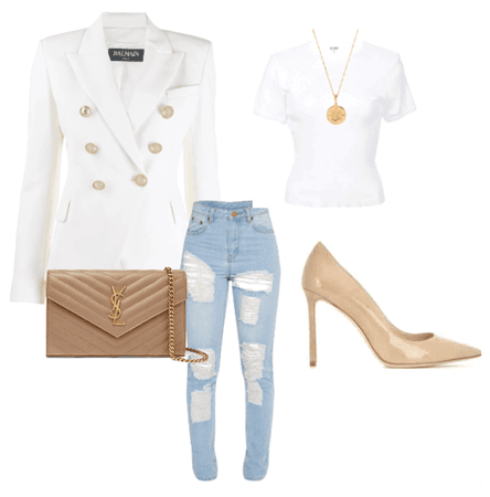 Basic outfit with white blazer