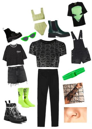 lime green, grunge