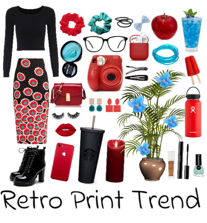Red and Blue Retro Print