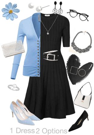 1 Dress 2 Options - Black & Blue