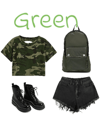 school outfit green