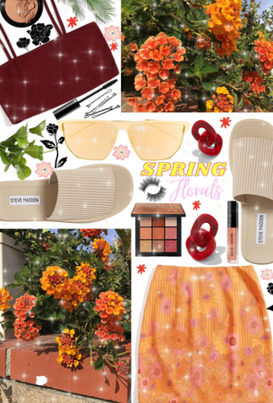 Sparkly Red and Orange Florals
