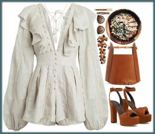 Romper Style. Brown+White