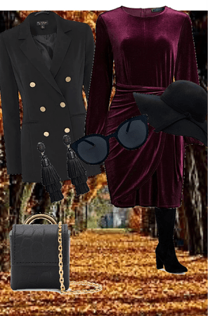 Burgundy and Black Fall Blazer Fashion