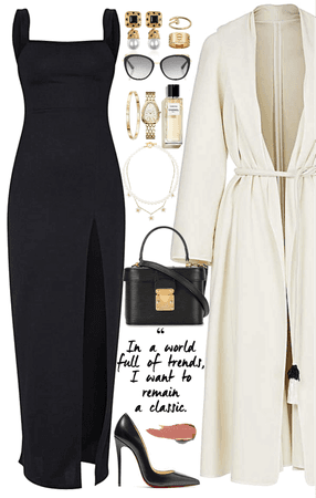 classic & long dress look with gold & Pearl jewelry