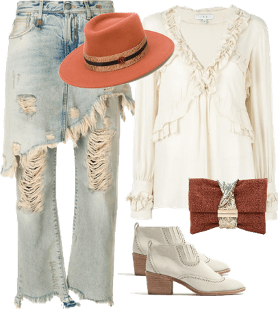 Cream Ruffle Blouse and Denim Skirt Jeans with Fedora