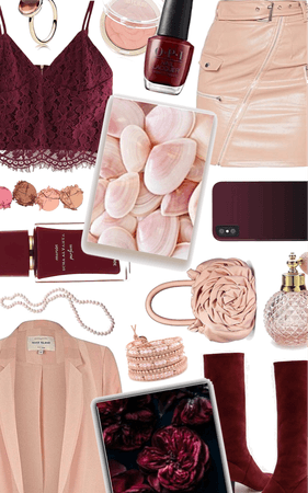 maroon + blush pink