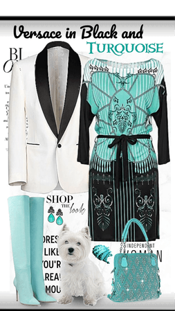Eclectic Versace Dress With Turquoise Boots