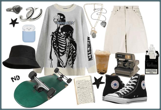 Grunge Skateboarding outfit