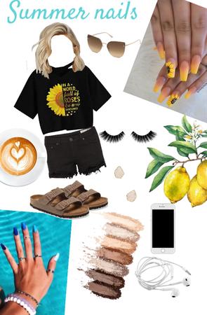 summer nail | sunflower