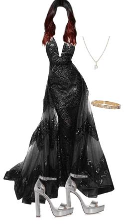 black poofy prom dress