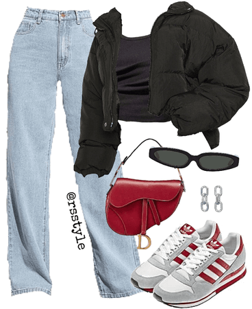 red accent outfit