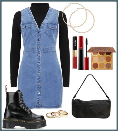 A Denim Dress and a Black Turtleneck