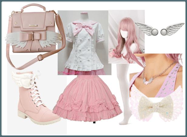 pink angel lolita coord