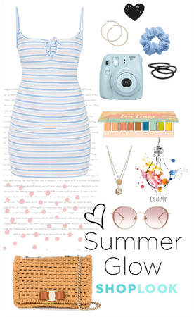 Blue pastel summer dress outfit