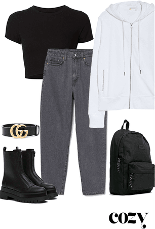 black, grey, and white fit