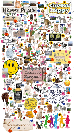 It's obvious I don't know what a vision board is!  Happy Things Mood / Vision Board - I just couldn't put another item on it!