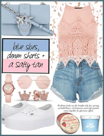 Denim shorts × Crochet top