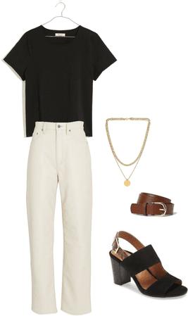 white pants black heels