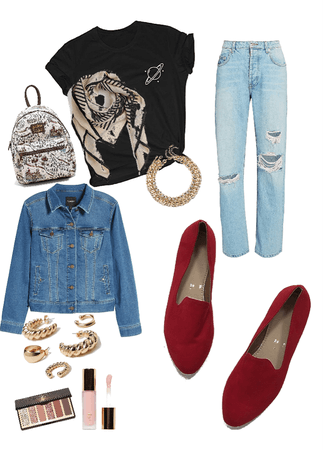 outfit RED flats