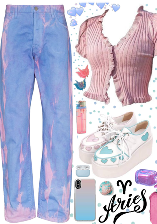 Aries: Pastel blue and pink