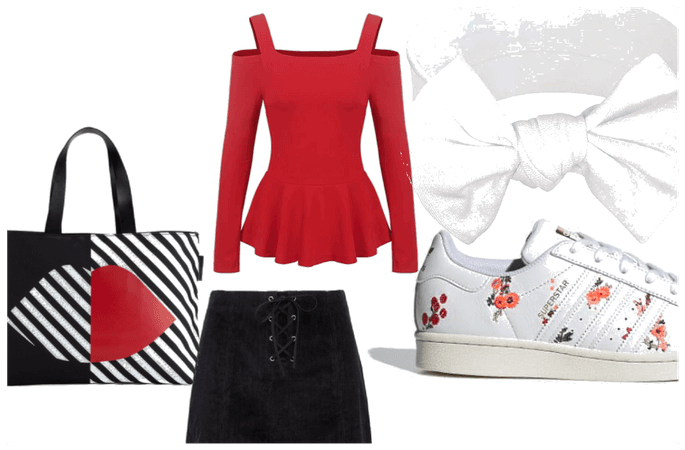 red,white and black oufit