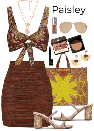 brown paisley outfit