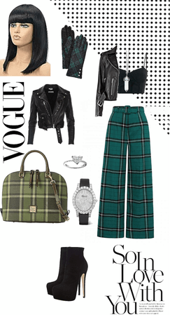 plaid Green& black gangster bad luck chilling time