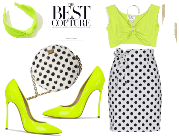 lime and polka dots