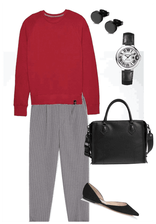 Red top outfit for work