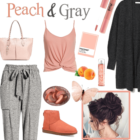 Peach and gray combo