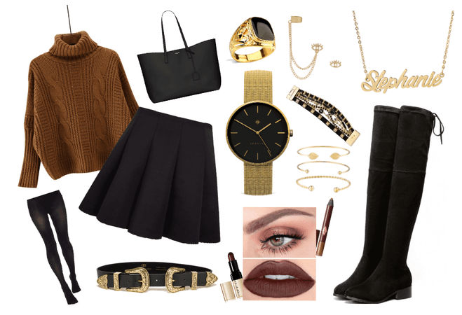 Winter cozy skirt outifit