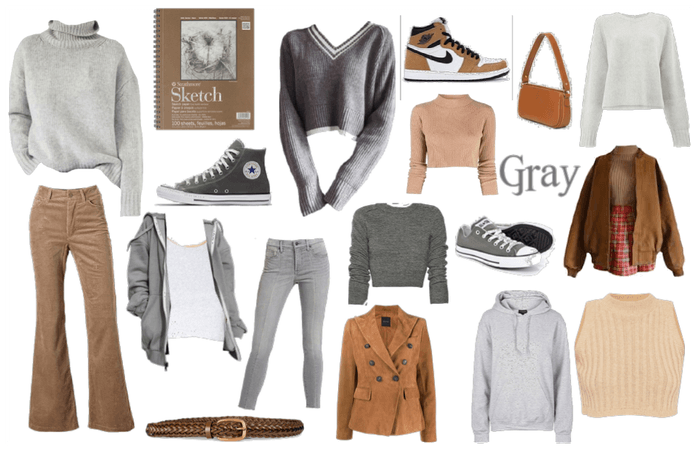 Camel and Gray Color Combo Moodboard