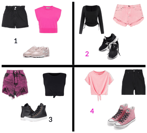 4 diferent way's to dress in pink and black