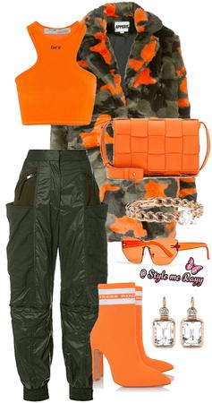 Orange and Dark Green Camo